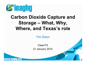 Carbon Dioxide Capture and Storage – What, Why, Where, and Texas's role