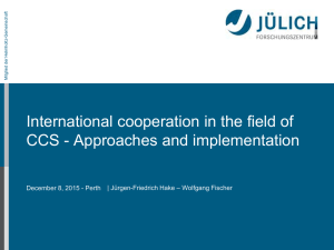 International cooperation in the field of CCS - Approaches and implementation