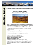 Climate Change Workshop for Resource Managers  September 18, 1:00-5:00 PM