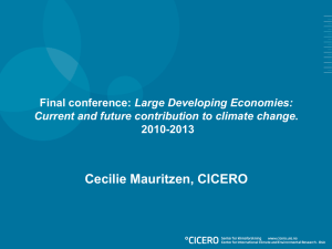Cecilie Mauritzen, CICERO Large Developing Economies: 2010-2013