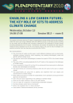 EnablinG a low caRbon futuRE: climatE chanGE wednesday, october 13