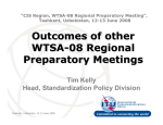 Outcomes of other WTSA - 08 Regional