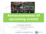 Announcements of upcoming events  Cristina Bueti