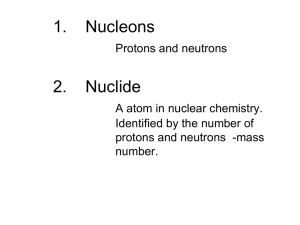 1. Nucleons Protons and neutrons 2. Nuclide A atom in