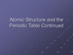 Atomic Structure and the Periodic Table Continued