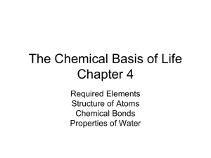 The Chemical Basis of Life Chapter 4