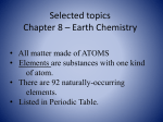 Selected topics Chapter 8 – Earth Chemistry