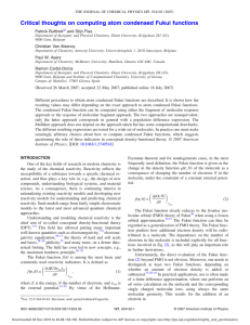 Critical thoughts on computing atom condensed Fukui functions Bultinck and Stijn Fias
