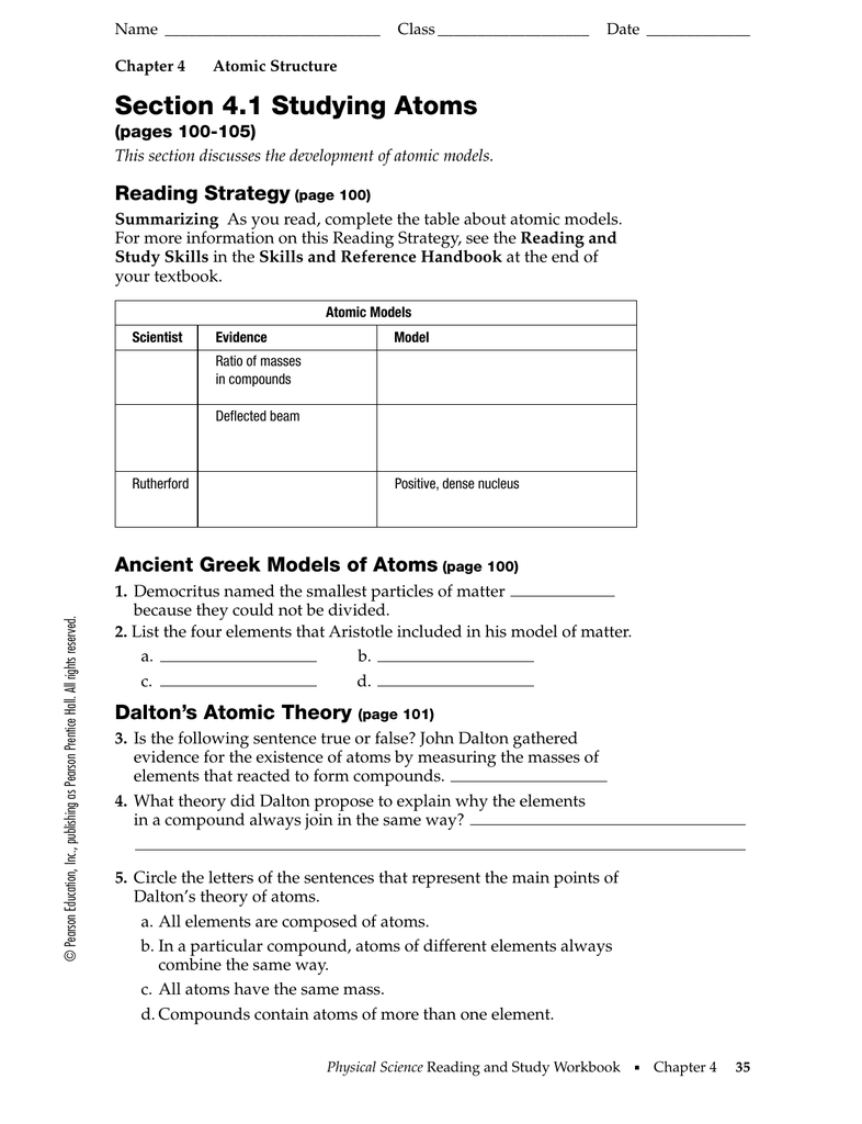 Section 4.1 Studying Atoms Reading Strategy