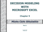 DECISION MODELING WITH MICROSOFT EXCEL Chapter 9