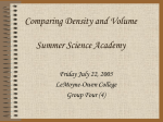 Comparing Density and Volume Summer Science Academy
