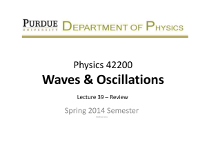 Waves & Oscillations Physics 42200 Spring 2014 Semester Lecture 39 – Review