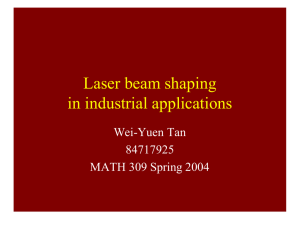 Laser beam shaping in industrial applications Wei-Yuen Tan 84717925