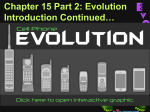 Ch. 15, Darwin`s Theory of Evolution
