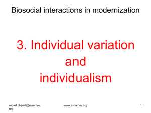 Individual variation and individualism