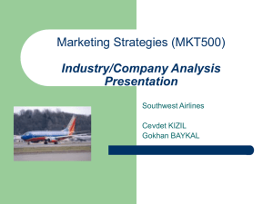 Marketing Strategies (MKT500) Industry/Company Analysis