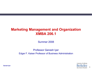 Marketing Management and Organization XMBA 206.1