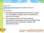 CHAPTER 1 Marketing Management Series Event Description