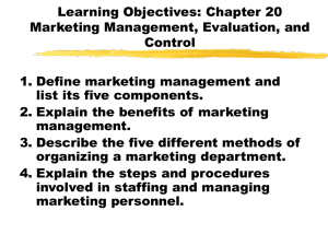 Chapter 20: Marketing Management, Evaluation, and Control