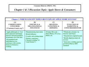 Chapter 1 & 2 Discussion Topic: Apple Stores & Consumers