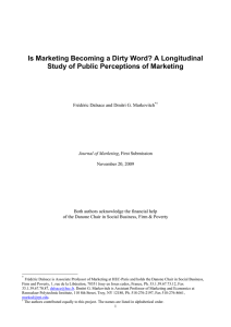 Is Marketing Becoming a Dirty Word? A Longitudinal