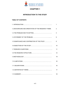CHAPTER 1 INTRODUCTION TO THE STUDY TABLE OF CONTENTS