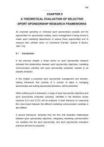CHAPTER 5 A THEORETICAL EVALUATION OF SELECTIVE SPORT SPONSORSHIP RESEARCH FRAMEWORKS