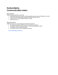 HudsonAlpha, Communication Intern Description: