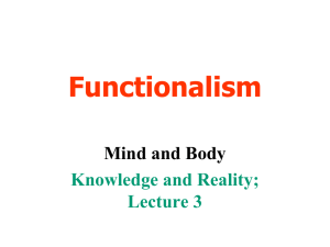 Knowledge and Reality Lecture 3 Functionalism