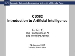 CS382 Introduction to Artificial Intelligence