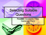 Selecting Suitable Questions
