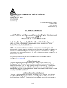 AAAI Artificial Intelligence and Interactive Digital Entertainment Conference: AIIDE-09