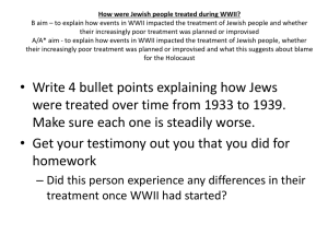 How were Jewish people treated during WWII? B aim – to