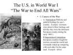 "The US in World War I ""The War to End All Wars"""