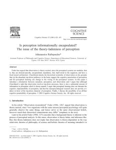 Is perception informationally encapsulated? The issue of the theory-ladenness of perception