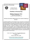Frontiers in , Ph.D. Pharmacology Proudly Presents