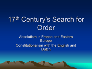 17 th Century`s Search for Order