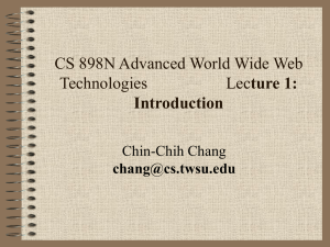 CS 898n - Lecture 1 - Wichita State University