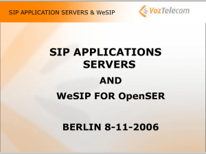 SIP APPLICATION SERVERS & WeSIP