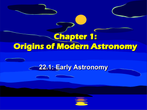 Chapter 22: Origin of Modern Astronomy