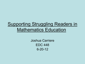 Supporting Struggling Readers in Mathematics Education