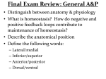 Final Exam Review: General A&P
