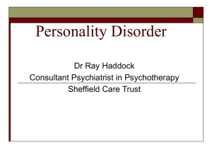 Personality Disorder? - Yorkshire and the Humber Deanery