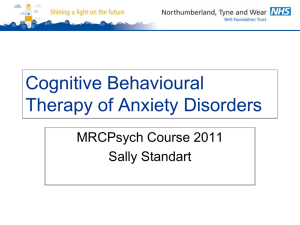Cognitive Behavioural Therapy of Anxiety