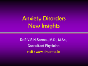Anxiety Disorders by Dr Sarma