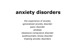 anxiety disorders - Psychology for you and me