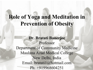Role of Yoga and Meditation in Prevention of Obesity