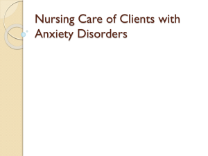 Nursing Care For Anxiety Disorder