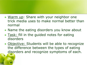 Eating disorders and body image. PPT