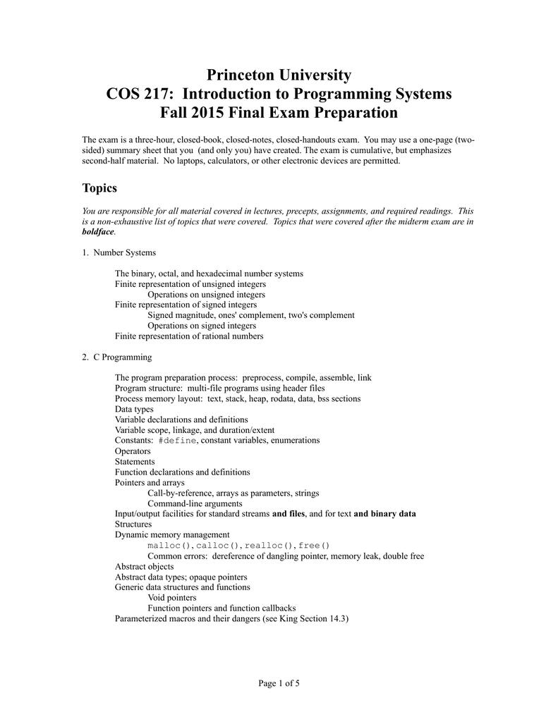 Princeton University COS 217: Introduction to Programming